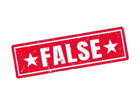 false in red stamp style, white background