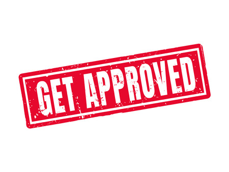 Get approved in red stamp style, white background