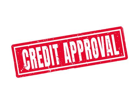 Credit goedkeuring in rode stempel stijl, witte achtergrond