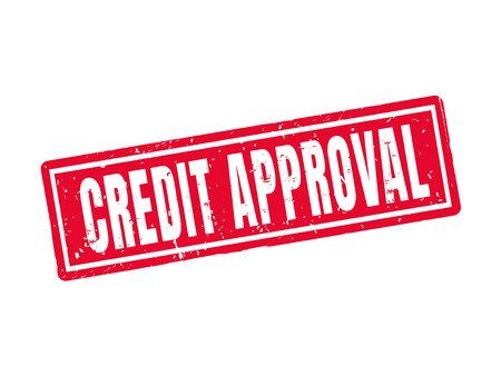 Credit approval in red stamp style, white background