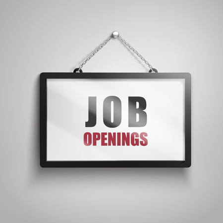Job openings text on hanging sign, isolated gray background 3d illustration