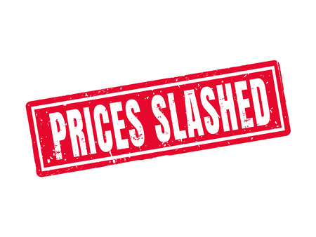 prices slashed in red stamp style, white background