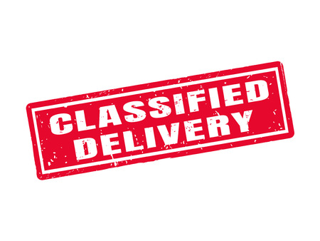 classified delivery in red stamp style, white background