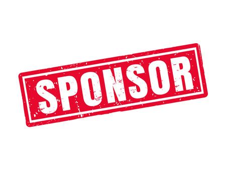sponsor in red stamp style, white background Illustration