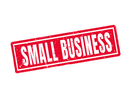 Small business in red stamp style, white background