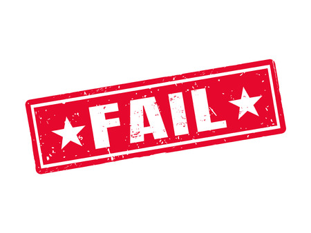 Fail in red stamp style, white background