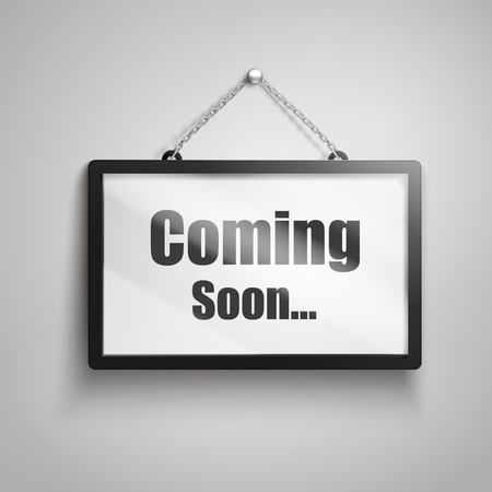 Coming soon text on hanging sign, isolated gray background 3d illustration