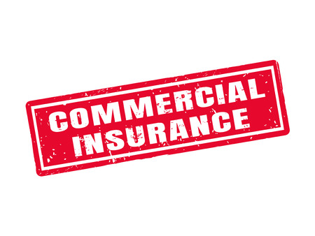 commercial insurance in red stamp style, white background