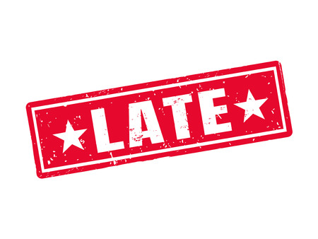 late in red stamp style, white background