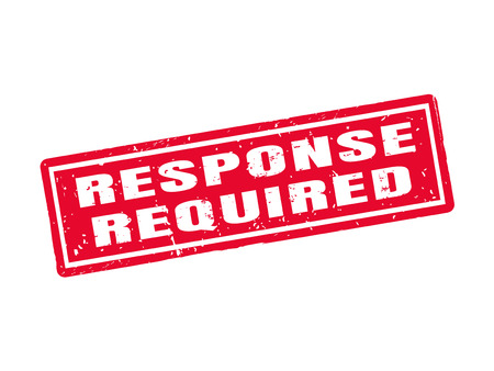 赤いスタンプ スタイル、ホワイト バック グラウンドで必要な応答