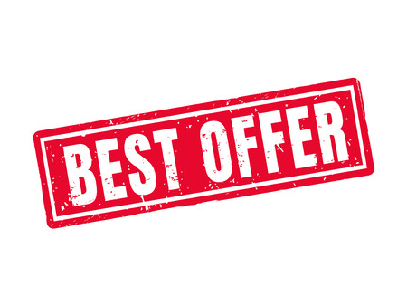 Best offer in red stamp style, white background