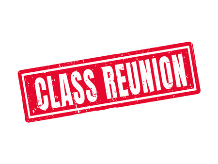 Class reunion in red stamp style, white background