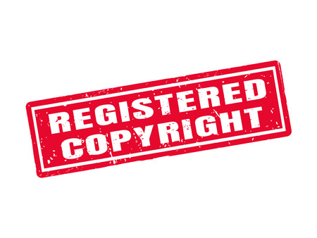 Registered copyright in red stamp style, white background Ilustrace