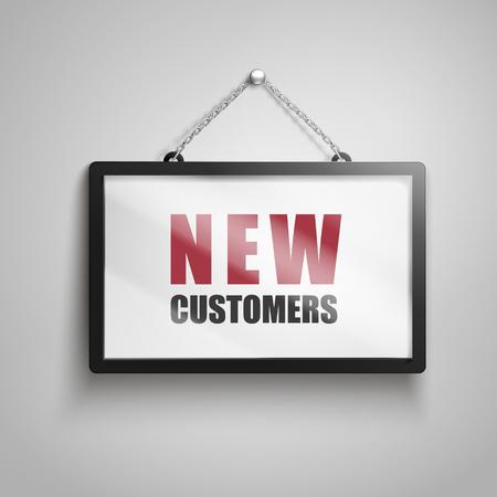Nieuwe klantentekst bij het hangen van teken, geïsoleerde grijze 3d illustratie als achtergrond