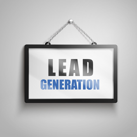 lead generation text on hanging sign, isolated gray background 3d illustration