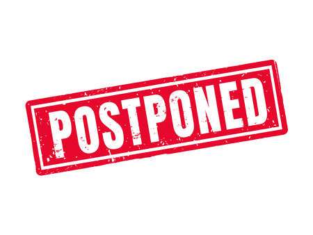 Postponed in red stamp style, white background