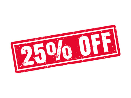 25 percent off in red stamp style, white background