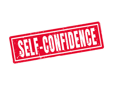Self-confidence in red stamp style, white background