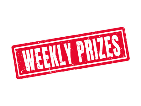 Weekly prizes in red stamp style, white background