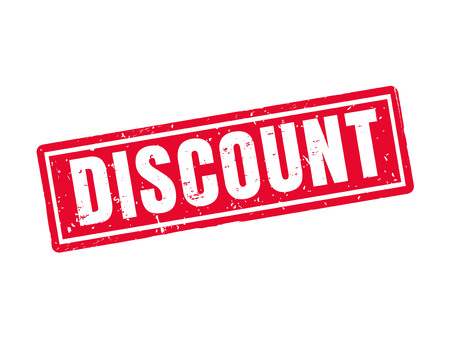 Discount in red stamp style, white background Иллюстрация