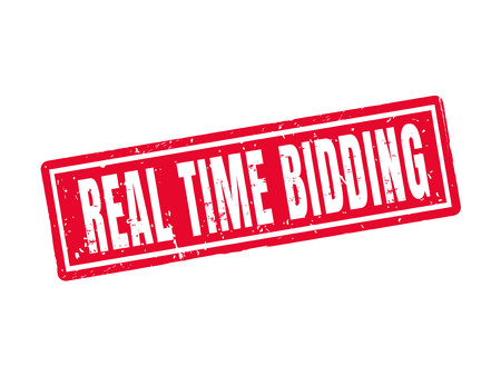 real time bidding in red stamp style, white background Illustration