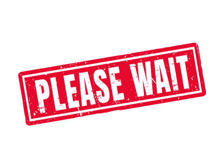 please wait in red stamp style, white background