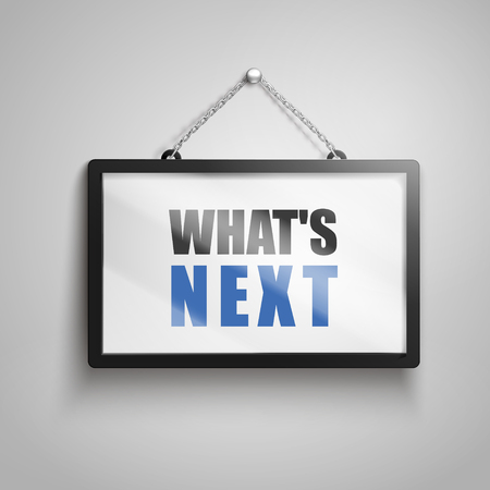 What is next text on hanging sign, isolated gray background 3d illustration Imagens - 78194239