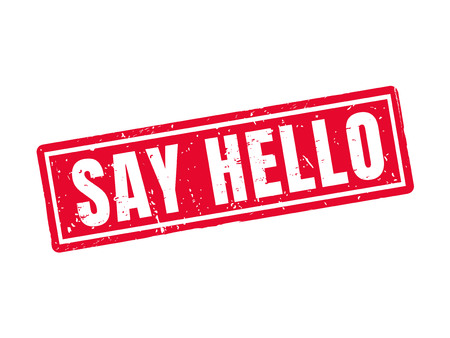 Say hello in red stamp style, white background