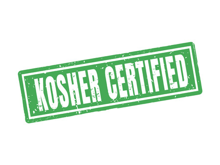 kosher certified in green stamp style, white background