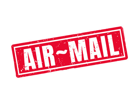 Air-mail in red stamp style, white background