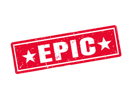 Epic in red stamp style, white background