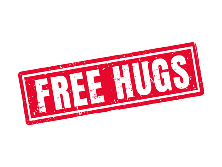 Free hugs in red stamp style, white background