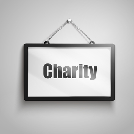 Charity text on hanging sign, isolated gray background 3d illustration