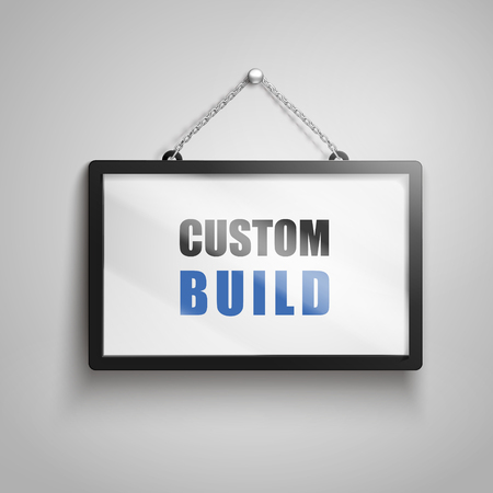 Custom build text on hanging sign, isolated gray background 3d illustration