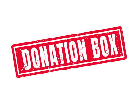 Donation box in red stamp style, white background