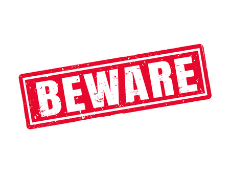 beware: Beware in red stamp style, white background