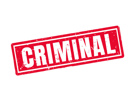 Criminal in red stamp style, white background Illustration