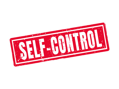 Self-control in red stamp style, white background Illustration