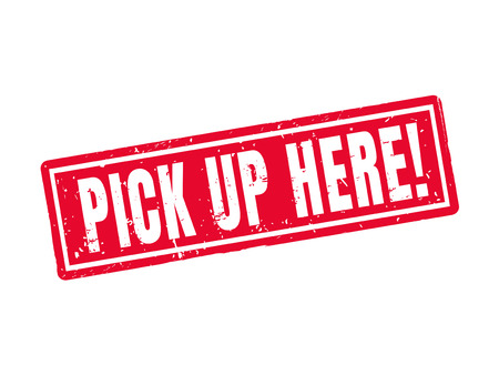 Pick up here in red stamp style, white background