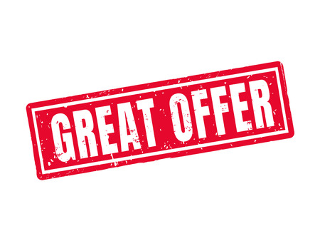 Great offer in red stamp style, white background