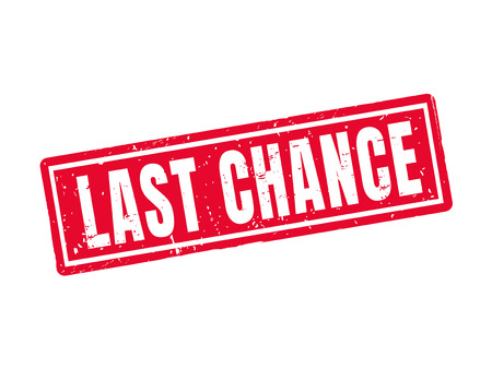 Last chance in red stamp style, white background Çizim