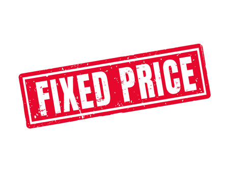 Fixed price in red stamp style, white background Illustration
