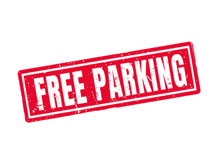 Free parking in red stamp style, white background Illustration