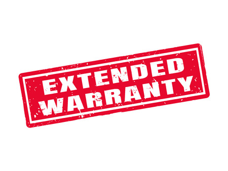 Extended warranty in red stamp style, white background Ilustração