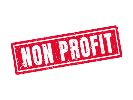 Non profit in red stamp style, white background