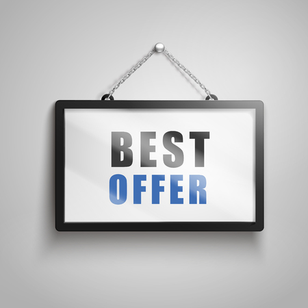 Best offer text on hanging sign, isolated gray background 3d illustration Illusztráció