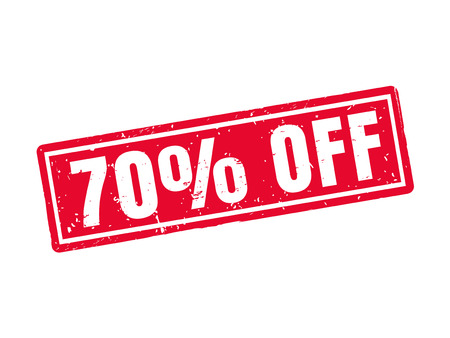 70 percent off in red stamp style, white background