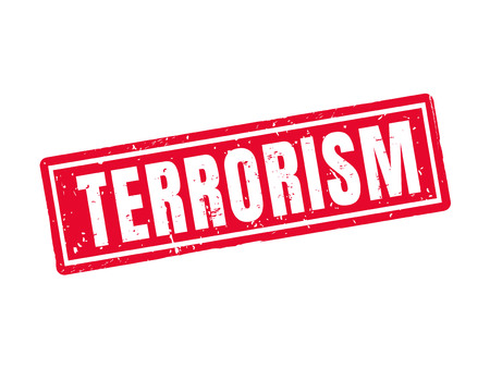 Terrorism in red stamp style, white background