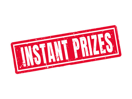 Instant prizes in red stamp style, white background Иллюстрация
