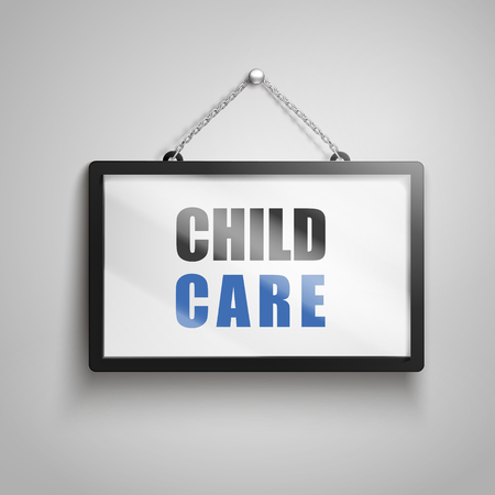 Child care text on hanging sign, isolated gray background 3d illustration Çizim